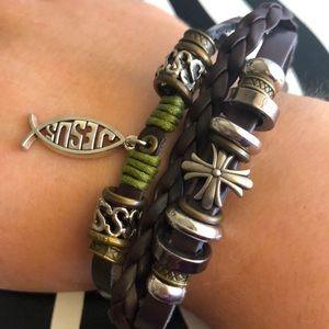 4 for $20 Boho Jesus Dark Brown Leather Bracelet